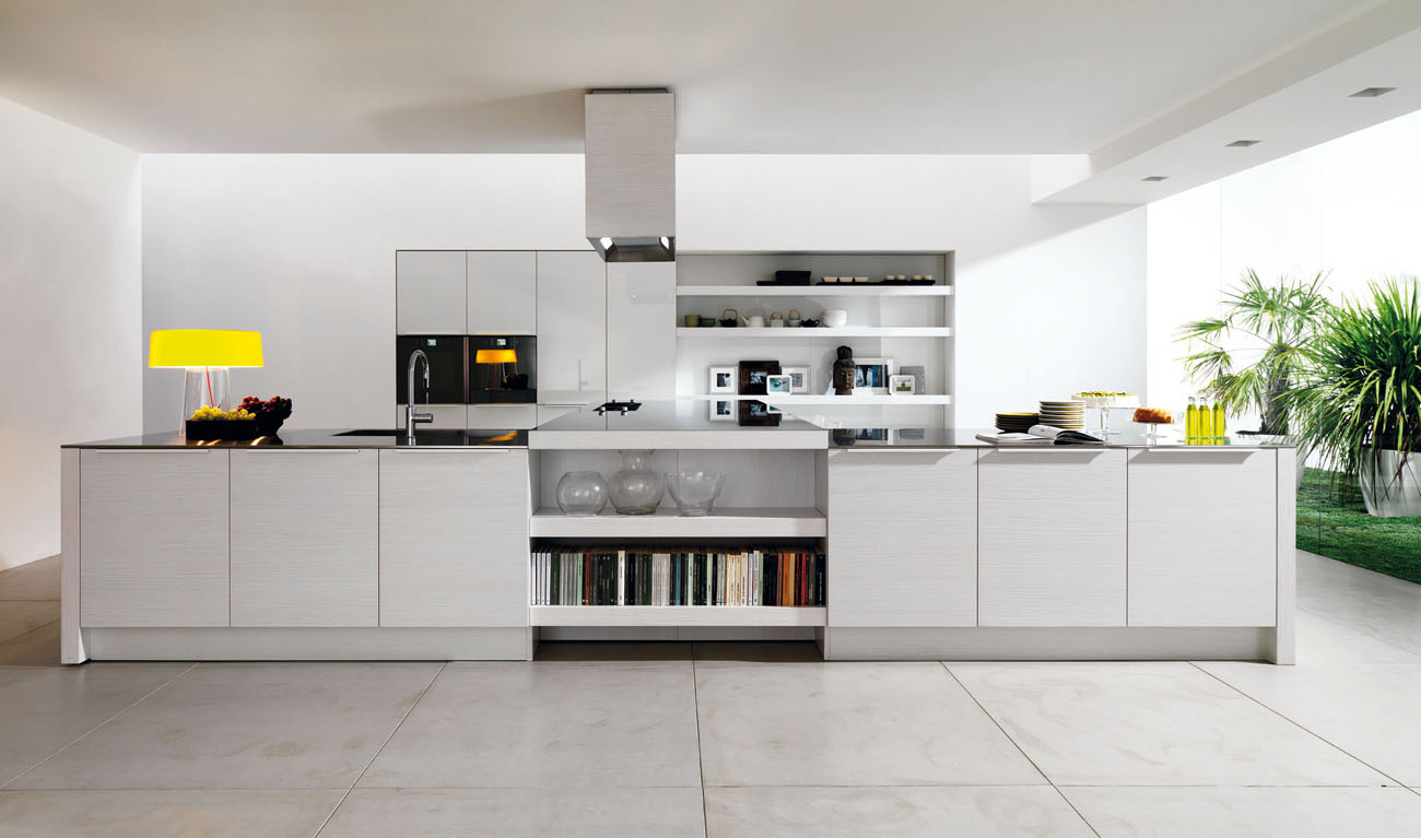 Small Modern Kitchen Design To Show Up The Charming Style : Amazing White Open Modern Kitchen Design With Book Storage