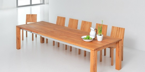 Make Your Dining Room Elegant With Expandable Dining Table : Amber Extending Solid Wood Table