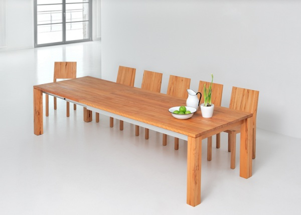Dining Table Of Wood Present Elegant And Calm Look : Amber Extending Solid Wood Table
