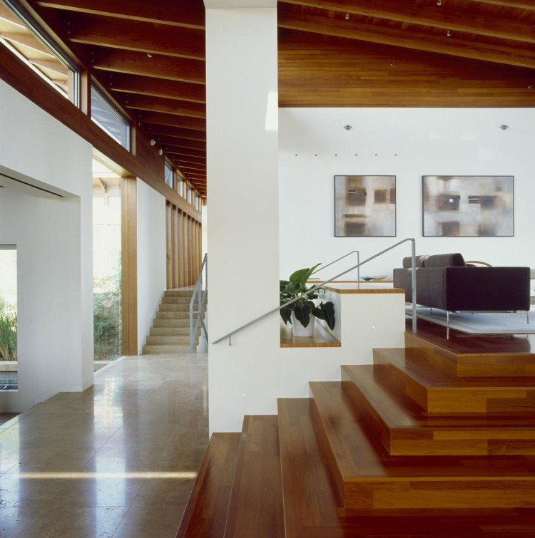 Perfect Hilltop House With Such A Great Interior Design: Amushing Design Of Wood Stair The Hilltop House