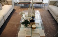 Gorgeous Modern Residence For Youthful Soul Living Place : Amusing Pattern Of Glass Table With Book And Accessories At Park Avenue