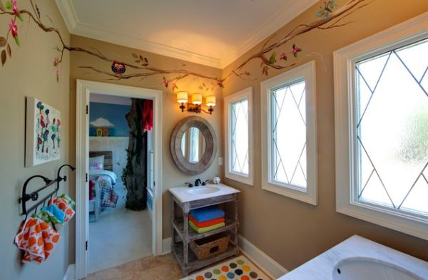 Stunning Kids Bathroom With Nursery Decor: An Open Shelf And A Cute Towel Rack Stand Out In This Cute Kids Bathroom Space
