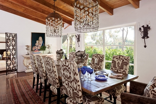 Fascinating Dining Room Decoration Offers Comfort Taste: Antique Dining Room With Chocolate Ikat Fabric Chairs