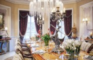 Extravagant Villa Design With Antique Style : Antique Dining Table And Chairs Luxury Chandelier Luxury Villa In Qatar