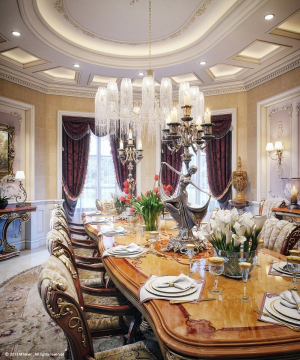 Extravagant Villa Design With Antique Style: Antique Dining Table And Chairs Luxury Chandelier Luxury Villa In Qatar