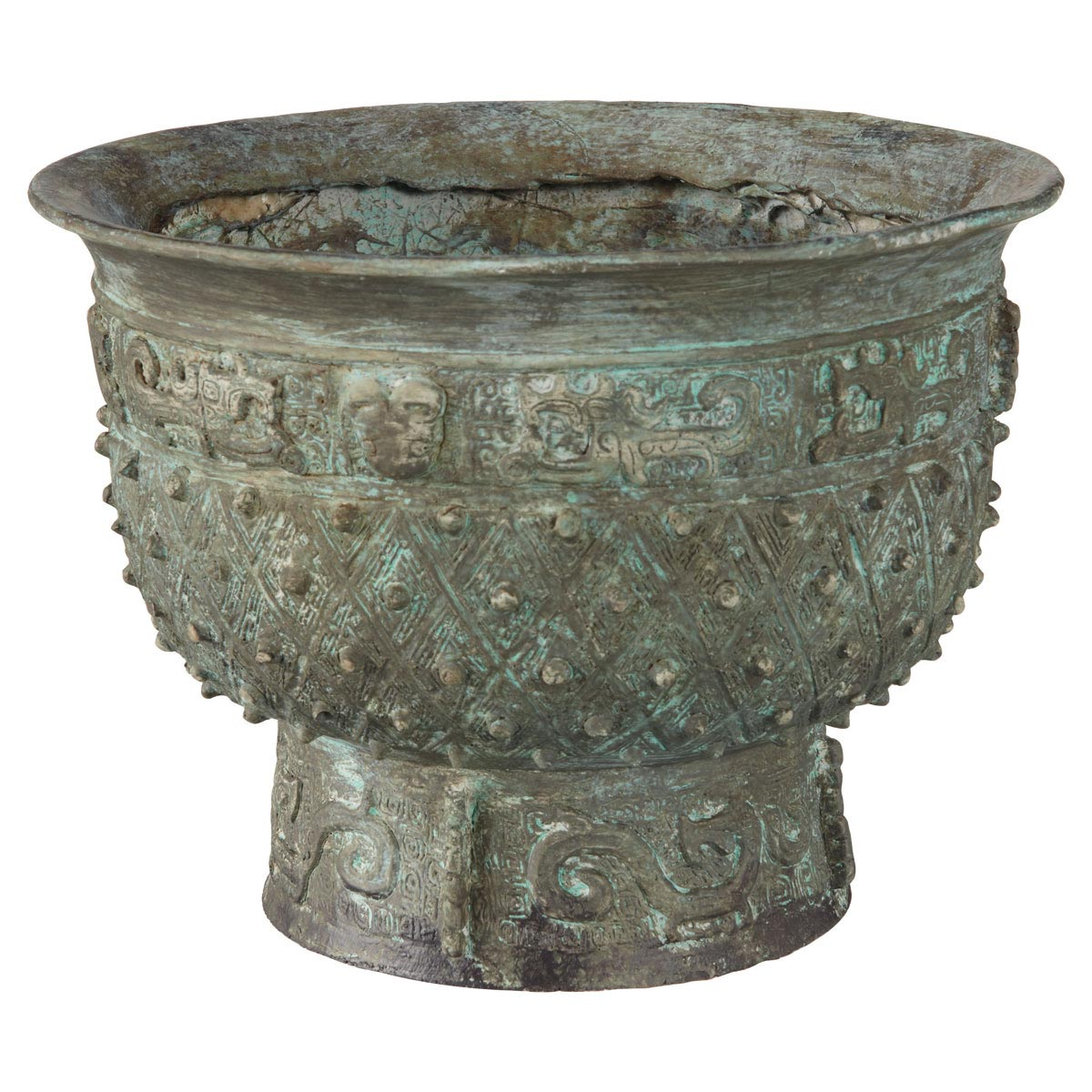 Colorful Verdigris Planter In Unique Design : Antique Ornamental Verdigris Planter Design With Empty Flowers