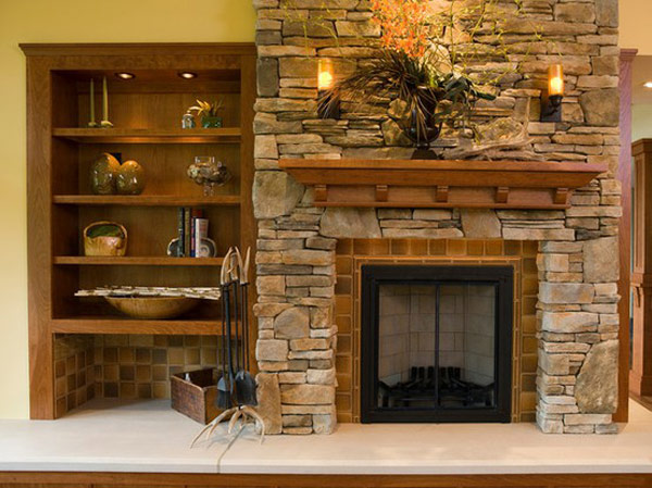 Stone Fireplace Design Comes With The Natural Idea: Antique Stone Fireplace With Wooden Cabinet