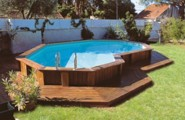 Gorgeous Yet Safe Above Ground Pools With Decks In Round Shape : Appealing Above Ground Pools With Decks With Dark Wood