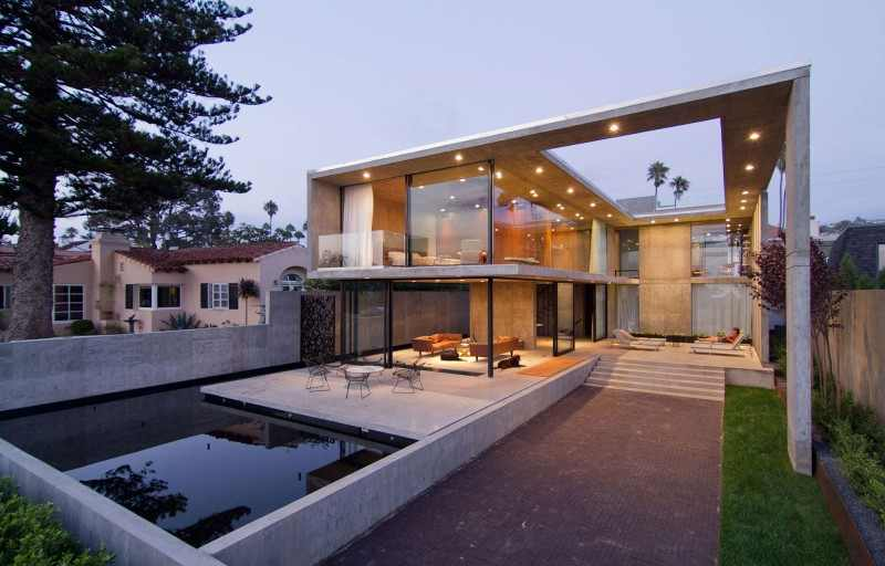 Great Modern House Design With Luxurious Plan Ideas: Appealing Lighting Of Cresta Residence With Unique Swiming Pool And Cozy Patio
