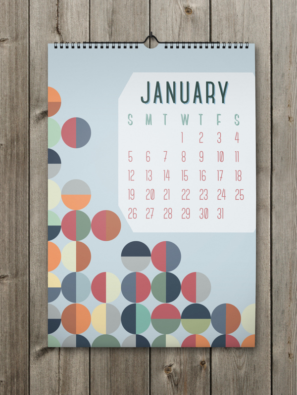 Unique Calendar Shape Designs With Colorful Ideas For 2014 : Appealing Rounded Pattern With Many Colors On The Blue Background For January Calendar