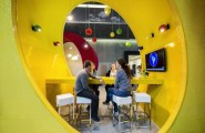 Futuristic College Campus Dominated With Glass Decoration : Artistic And Modern Inteiors At Google Campus Yellow Chatting Room