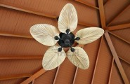 Make Artistic Sense Of Your Living Space With Unique Ceiling Fans : Artistic Ceiling Fan In Wooden House