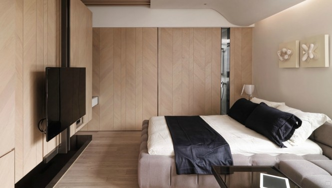Incredible Taiwanese Apartment Dominated With Wooden Accent For Warmth: Astonishing A Tiny Taiwanese Apartment Modern Style Bedroom Design Ideas