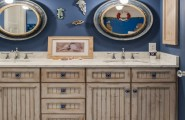 Bewitching Nautica Interior Ideas With Contemporary Furnishings Design : Astonishing Bathroom Design With Rustic Wood Vanity And Twin Mirrors