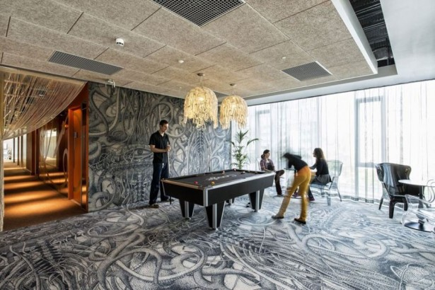Futuristic College Campus Dominated With Glass Decoration: Astonishing Game Room Inisde The Google Campus With Grafiti Floor And Wall ~ stevenwardhair.com Design & Decorating Inspiration