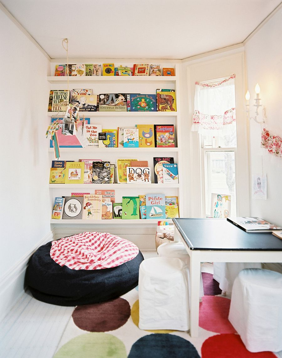 Gorgeous Bookshelf Design For Tidy Room Design : Astonishing Kids Room Decor With Fancy Bookshelf And Black Floor Cushion