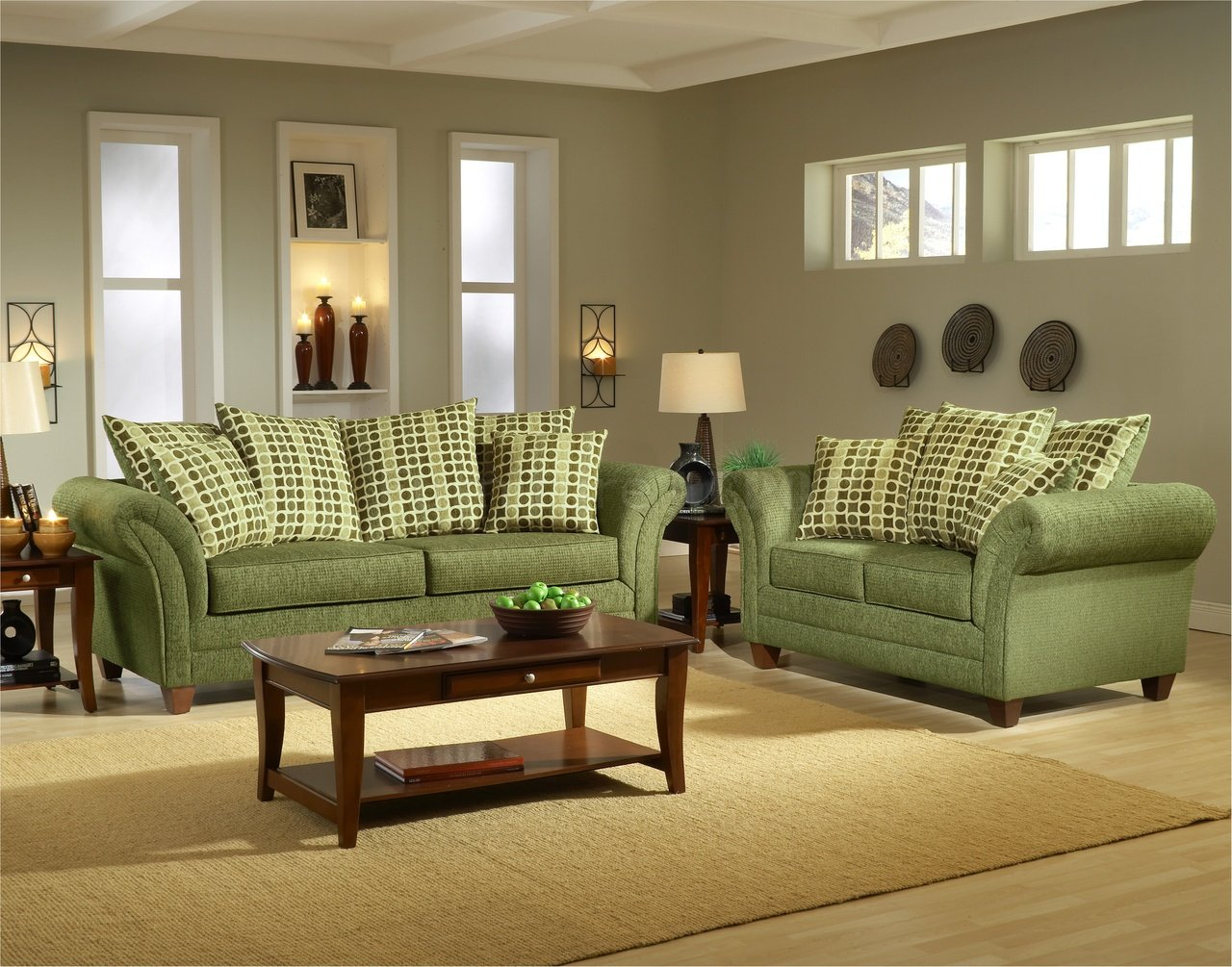 Green Sofas And Eco Friendly Furniture: Astonishing Modern Artistic Green Sofas Gray Interior Room Design