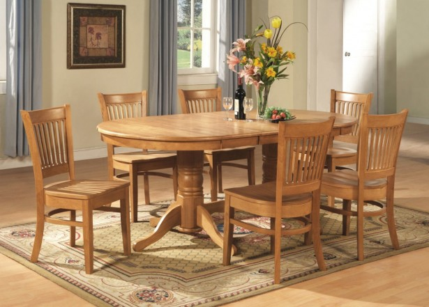 Solid Oak Dining Room Table To Accompany Your Family Dinner: Astonishing Oak Dining Room Table Classic Grey Curtain Cream Color Wall ~ stevenwardhair.com Dining Room Design Inspiration