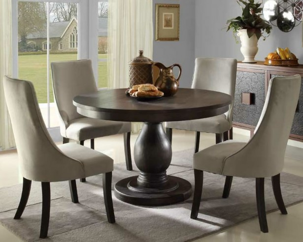 Attractive Round Table Dining Set In Both Modern And Classic Flairs: Astonishing Round Table Dining Set White Chair Wooden Table Gray Wall Design ~ stevenwardhair.com Dining Room Design Inspiration