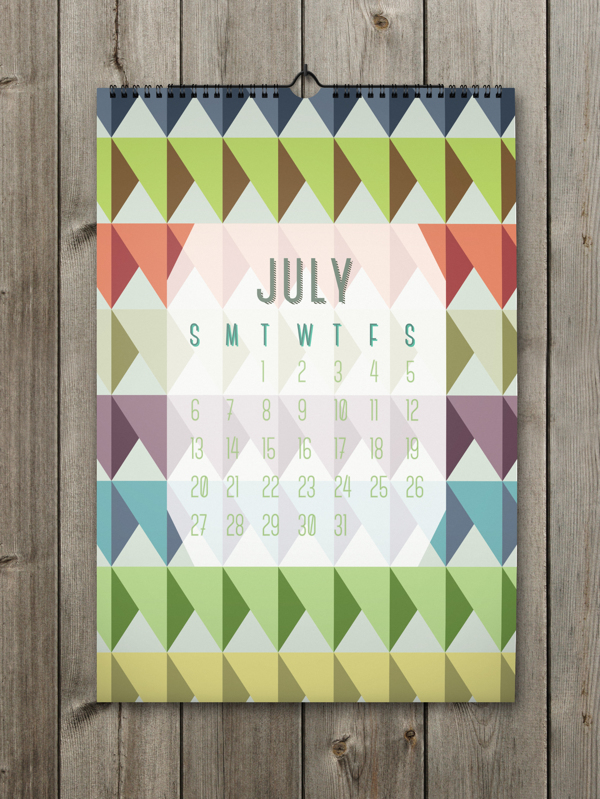 Unique Calendar Shape Designs With Colorful Ideas For 2014: Attractive Full Colors July Calendar With Unique Pattern ~ stevenwardhair.com Design & Decorating Inspiration