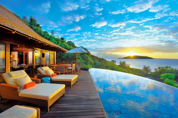 Aweome Scenic View Seen From Deck Of Ephelia Constance Resort With Infinity Pool In Front Of It