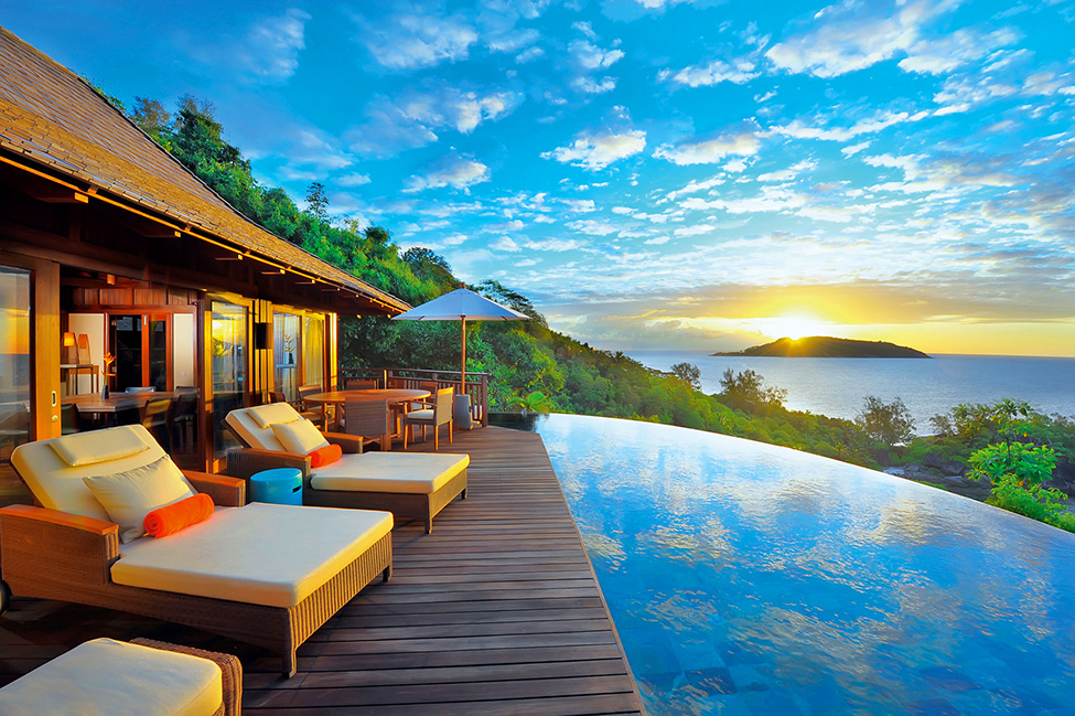 Beautiful Luxurious Resort With Beautiful Natural Views: Aweome Scenic View Seen From Deck Of Ephelia Constance Resort With Infinity Pool In Front Of It