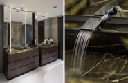 Luxurious Contemporary Villa In Rotterdam : Awesome Bathroom With Twin Lit Sinks In Black Onyx And Spa Like Ambiance