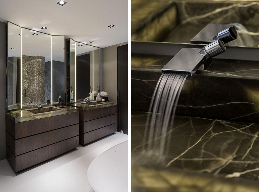 Luxurious Contemporary Villa In Rotterdam: Awesome Bathroom With Twin Lit Sinks In Black Onyx And Spa Like Ambiance