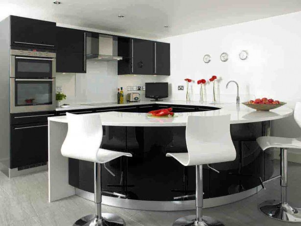 Colorful Modern Kitchen Ideas Offer Rare Model Options: Awesome Black And White Modern Kitchen Ideas Curved Kitchen Island ~ stevenwardhair.com Kitchen Designs Inspiration