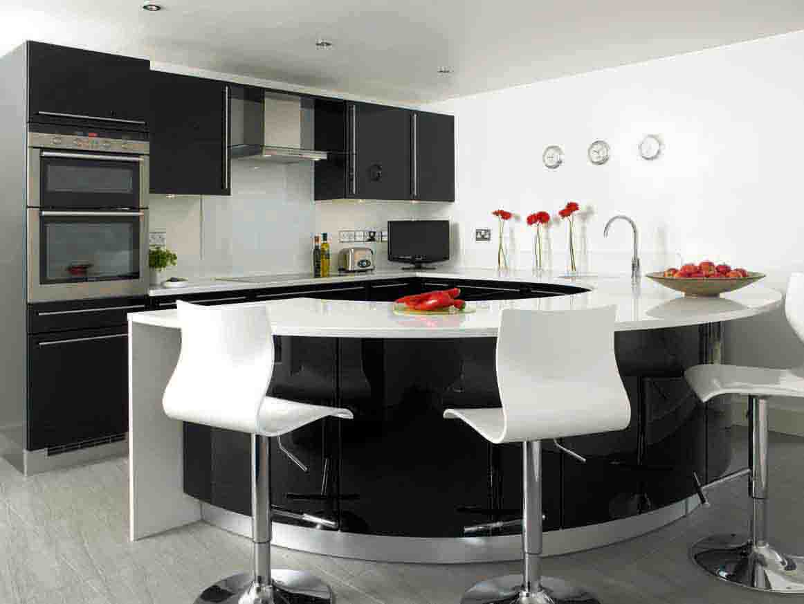 Colorful Modern Kitchen Ideas Offer Rare Model Options : Awesome Black And White Modern Kitchen Ideas Curved Kitchen Island