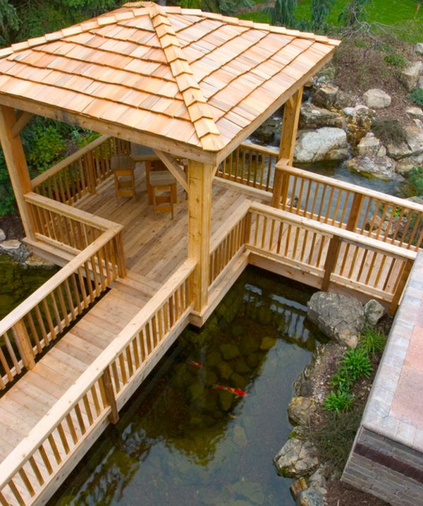 Natural Garden Landscape Arranged Artistically In Its Design: Awesome Deck Space Right Above The Koi Pond Offers Great Visuals