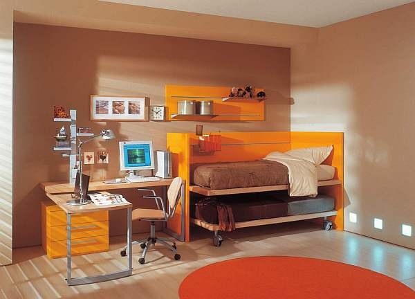 Beautiful Orange Interior Paint To Energize Your Life Every Day!: Awesome Design Of Modern Teens Room With Orange Decoration