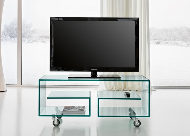 Futuristic TV Unit Design Supplied With Hidden Lights And Bookcase: Awesome Glass TV Unit Design Small Casters Glass Door ~ stevenwardhair.com Home Accessories Inspiration