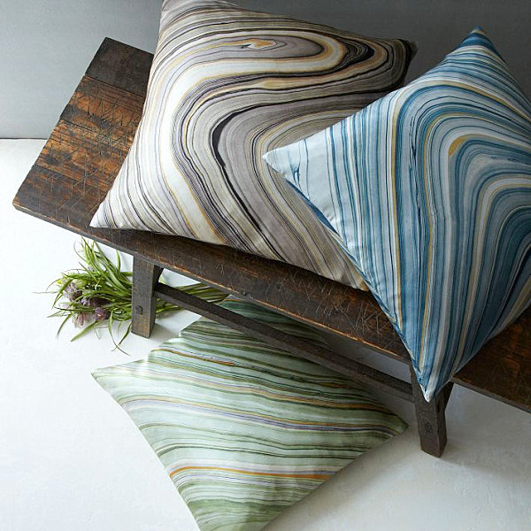 Elegant Marble Pattern Prints As Finest Decoration From West Elm : Awesome Marble Print Silk Pillow Covers With Wooden Bench Furniture