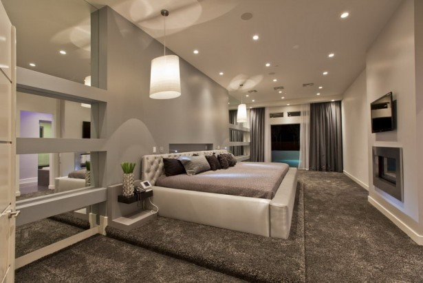 Incredible Master Suite Designs Provide Ideal Space With Nice View: Awesome Modern Master Suite Designs Gray Bedroom Iterior Unique Chandeliers ~ stevenwardhair.com Bedroom Design Inspiration