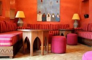 Contemporary Moroccan Decor For Bedroom : Awesome Moroccan Decor Red Strips Sofa Round Chair Wooden TAble