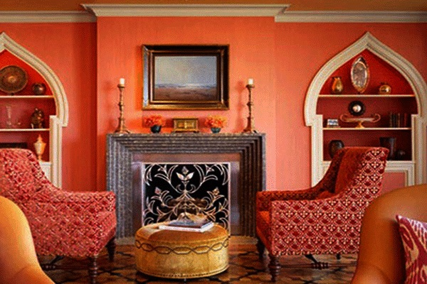 Contemporary Moroccan Decor For Bedroom: Awesome Moroccan Decor Red Wall Red Arm Chair Unique Fireplace ~ stevenwardhair.com Bedroom Design Inspiration