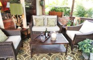 Naturewood Furniture As Luxury House Design : Awesome Naturewood Furniture Porch With Unique Green Table Lamp