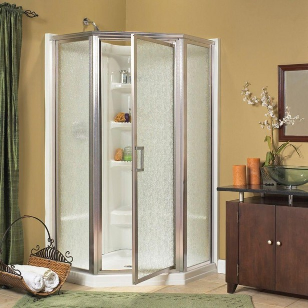 Awesome One Piece Shower Units With Wooden Cabinet