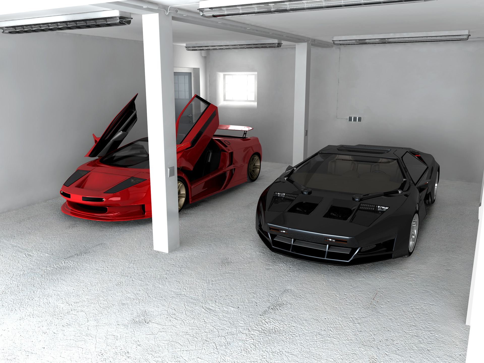 Best Garage Colors Design For Rustic Home Living: Awesome Red And Black Sport Cars Cool Garage Colors Design