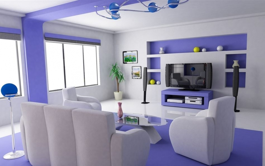 Luxurious Small Living Room Ideas With Simple Decoration: Awesome Small Living Room Ideas Bright Blue White Interior Sofa Unique Chandelier