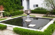 Natural Garden Landscape Arranged Artistically In Its Design : Awesome Square Koi Pond With Lovely Boxwood Border