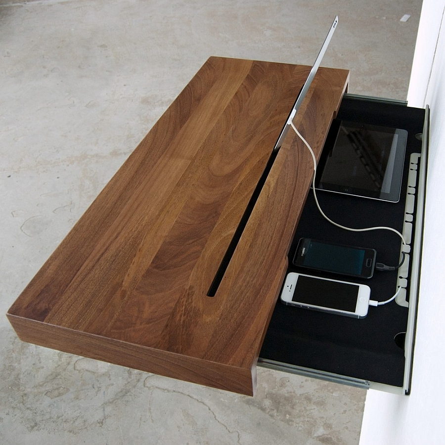 Versatile Simple Desk To Manage Your Gadget Cable Mess: Awesome Stage Wall Mounted Charging Shelf And Desk