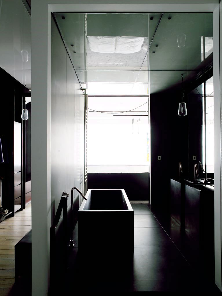 Minimalist Loft Apartment With Savvy Room Separator : Awesome View From Left Side In Bathroom Design In Tribeca House