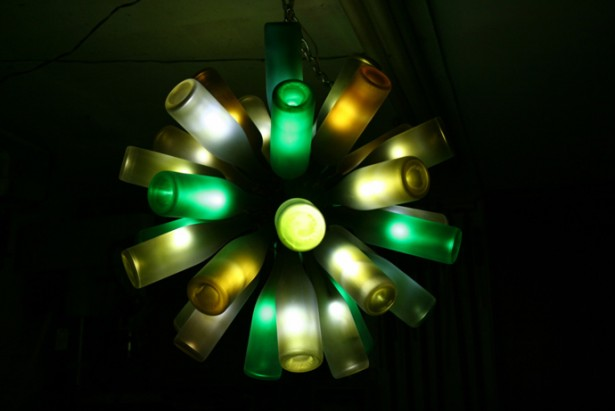 Awesome Wine Bottle Lamp For The Cozy Party With Some Colorful Lights In The Dark Room