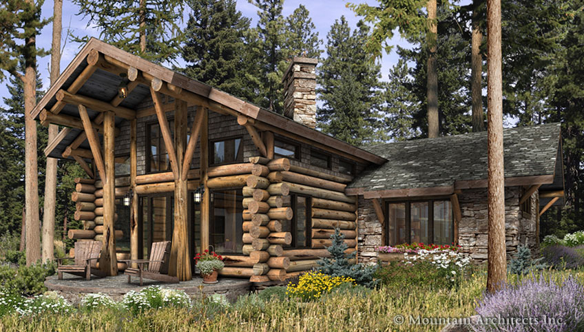 Beautiful Luxury Log Home Plans; Massive Beauty Of Woodwork : Awesome Wooden Style Telluride Large Luxury Log Home Plans