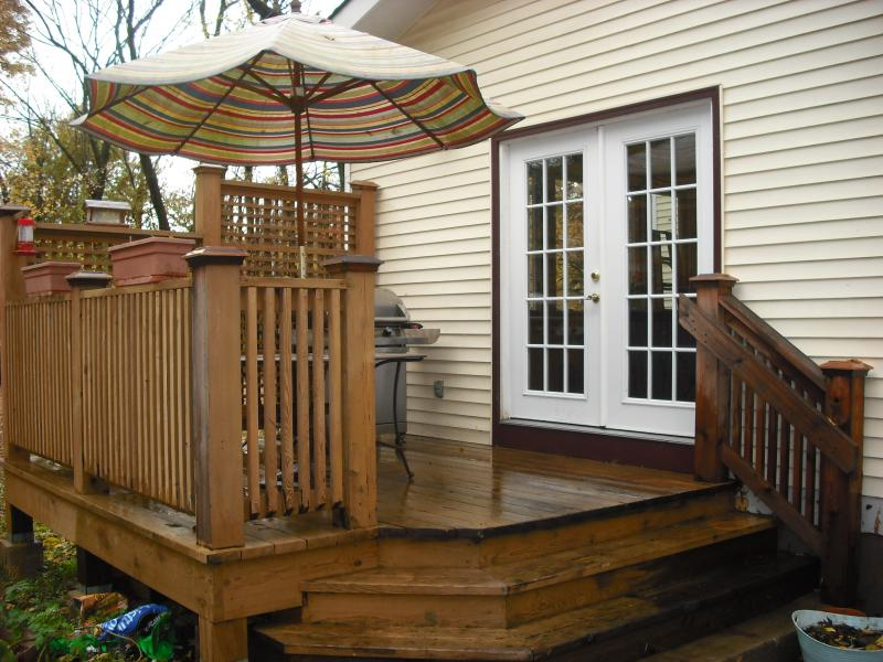 Modern Outside Decks For Outdoor Lounge : Backyard Deck Stripes Parasol Fascinating Outside Decks