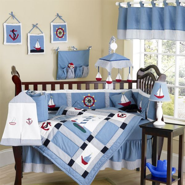Colorful Baby Boy Nursery Interior Design: Beauitiful Blue Come Sail Away Baby Bedding Set With A Nautical Theme ~ stevenwardhair.com Kids Room Inspiration