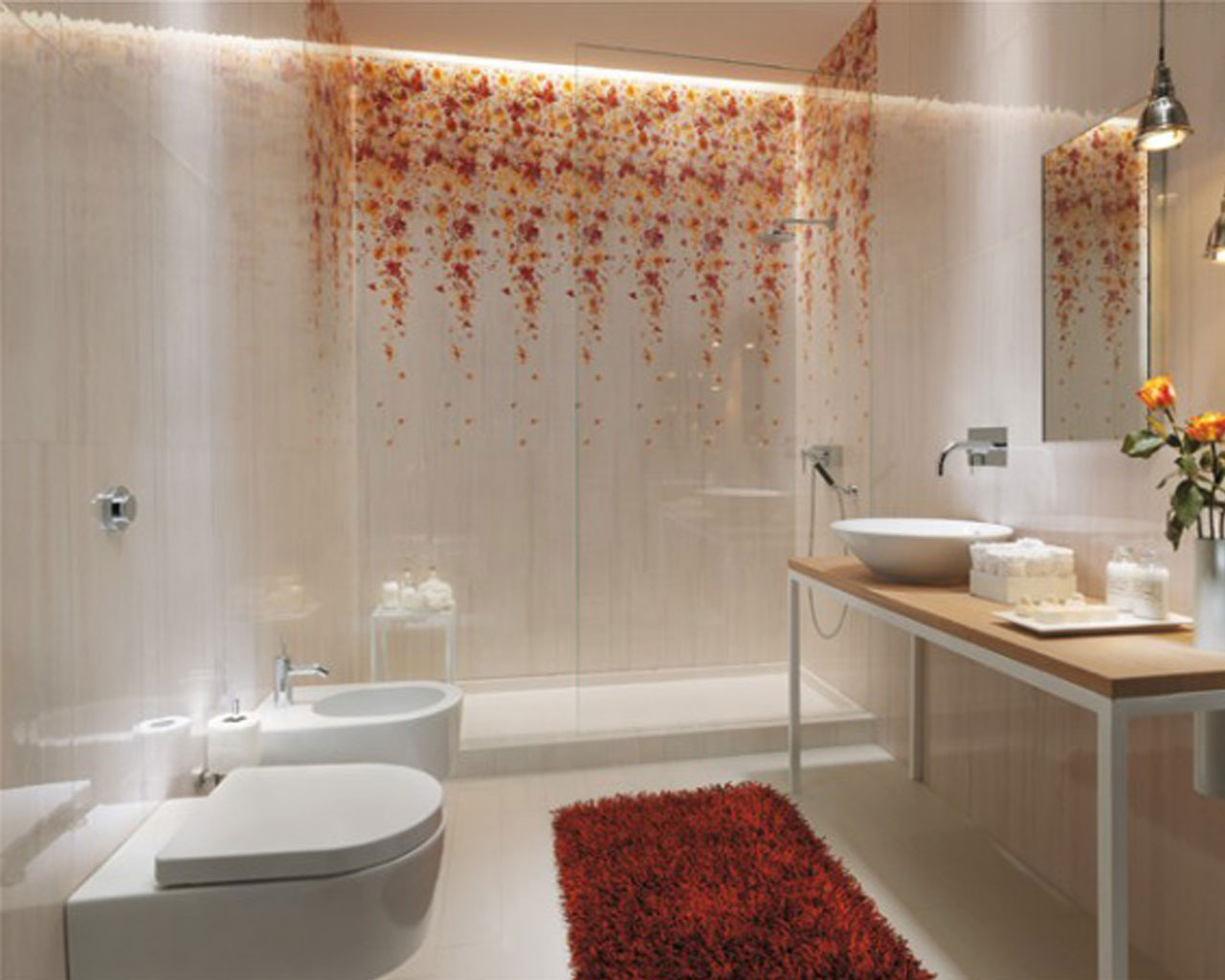 Inspirational Bathroom Designs Ideas Bring Out Natural And Cool Touch: Beautiful Bathroom Designs Ideas Red Rug Floral Tile Bedroom Wall