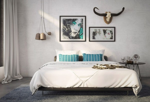 Fascinating Interior Design With Blends Of Monochrome Colors And Natural Elements : Beautiful Bedroom Interior Design Grey Carpet Enduring Inspiration From Vic Nguyen